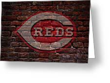 Reds Baseball Graffiti On Brick  Greeting Card