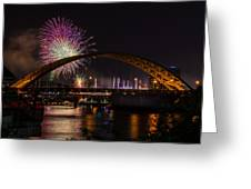 Reds Friday Night Fireworks Greeting Card
