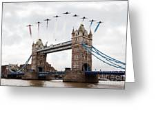 Reds Over Tower Bridge Greeting Card