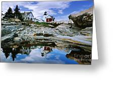 Reflected Lighthouse At Pemaquid Point Greeting Card