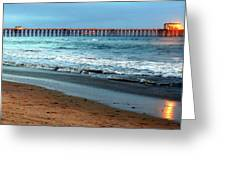 Reflected Sunlight At Pier's End Greeting Card