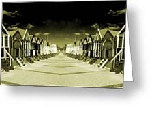 Reflected Yellow Huts  Greeting Card