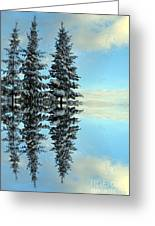 Reflecting Evergreens In Winter Greeting Card