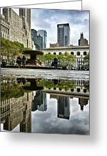 Reflecting In Bryant Park Greeting Card