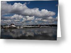 Reflecting On Boats And Clouds - Port Perry Marina Greeting Card