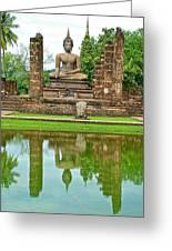 Reflecting Pool At Wat Mahathat In 13th Century Sukhothai Historical Park-thailand Greeting Card