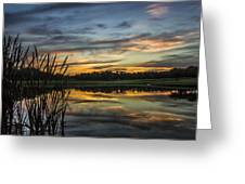 Reflection At Sunset With Cattails Greeting Card