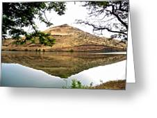 Reflection Of Butte Across From Lepage Rv Park Into Columbia River-oregon Greeting Card