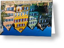 Reflection Of Colorful Houses In Neckar River Tuebingen Germany Greeting Card