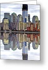 Reflection Of Downtown Nyc Greeting Card