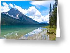 Reflection Of Glaciers And Clouds In Emerald Lake In Yoho National Park-british Columbia-canada Greeting Card