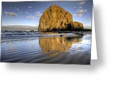 Reflection Of Haystack Rock At Cannon Beach 2 Greeting Card