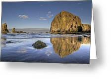 Reflection Of Haystack Rock At Cannon Beach 3 Greeting Card