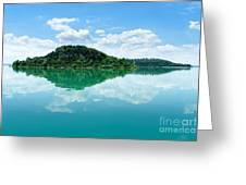 Reflection Of Isola Maggiore And Minore And Summer Sky  In Still Greeting Card