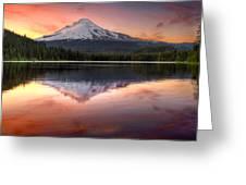 Reflection Of Mount Hood On Trillium Lake At Sunset Greeting Card