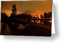 Reflection Of Mountains In Lake, Sunrise Greeting Card