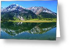Reflection Of Mountains In Tern Lake Greeting Card