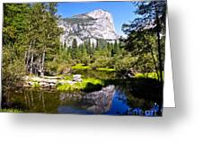 Reflection Of Mt Watkins In Mirror Lake Located In Yosemite National Park Greeting Card
