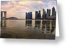 Reflection Of Singapore Skyline Panorama Greeting Card