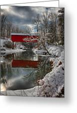 reflection of Slaughterhouse covered bridge Greeting Card