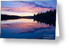 Reflection Of Sunset Sky On Calm Surface Of Pond Greeting Card