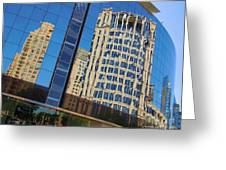 Reflections In The Rolex Bldg. Greeting Card