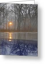 Reflections Of A Lamp On The Edge Of A Foggy Forest Greeting Card