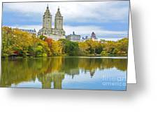 Reflections Of Autumn Central Park Lake  Greeting Card