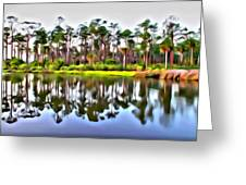 Reflections Of Pines Greeting Card