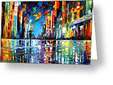 Reflections Of The Blue Rain - Palette Knife Oil Painting On Canvas By Leonid Afremov Greeting Card