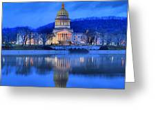 Reflections Of The West Virgina Capitol Building Greeting Card
