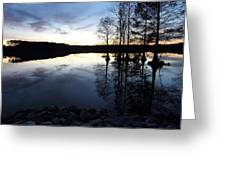 Reflections On Lake At Sunset Greeting Card