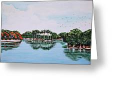 Reflections On Lal Bagh Lake Greeting Card