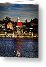 Reflections..two Rivers Pierhead Lighthouse Greeting Card