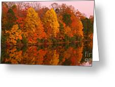 Reflective Lake Nockamixon Pano - Twilight Greeting Card