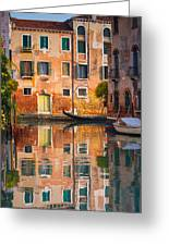 Reflective Moment In Venice Greeting Card