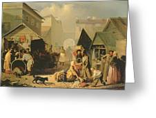 Refreshment Stall In St. Petersburg, 1858 Oil On Canvas Greeting Card