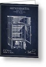 Refrigerator Patent From 1901 - Navy Blue Greeting Card