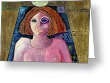 Regina, 2004 Acrylic & Metal Leaf On Canvas Greeting Card