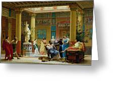 Rehearsal Of The Fluteplayer And The Diomedes Wife In The Atrium Of The Pompeian House Of Prince Greeting Card