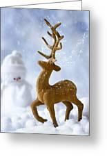 Reindeer In Snow Greeting Card
