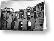 Remains Of Tiered Arches Of The Old Roman Colloseum At El Jem Tunisia Greeting Card
