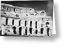 Remains Of Upper Tiers Looking Up From The Arena Floor Of The Old Roman Colloseum At El Jem Tunisia Greeting Card