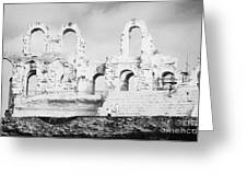Remains Of Upper Tiers Of The Old Roman Colloseum At El Jem Tunisia Greeting Card