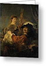 Rembrandt And Saskia In The Parable Of The Prodigal Son Greeting Card