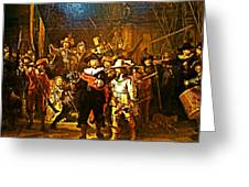 Rembrandt Painting Covered A Wall In Rijksmuseum In Amsterdam-netherlands Greeting Card