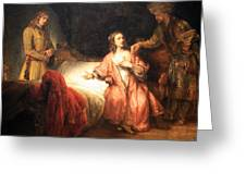 Rembrandt's Joseph Accused By Potiphar's Wife Greeting Card