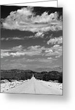 Remote Desert Road To Mountains Greeting Card