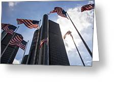 American Flags And Renaissance Center Greeting Card