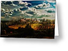 Renaissance Landscape With Power Lines Greeting Card
